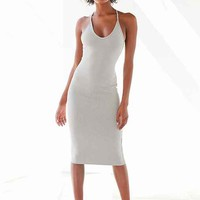 Silence + Noise Voop Ribbed Knit Midi Dress
