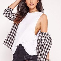 Missguided - High Neck Drop Armhole Vest White
