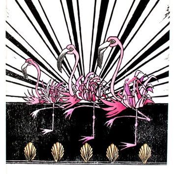 Flamingo Linocut Print Whimsical Art Deco Children's Art Wall Art Wall Decor Home Decor Illustration Printmaking Pink Black Collective Noun