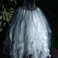 ladies white black tutu skirt adult  tulle long goth burlesque wedding prom gypsy victorian bride emo US size 14 16 18 20