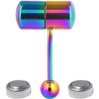 Rainbow Titanium LIX Vibrator Tongue Ring | Body Candy Body Jewelry