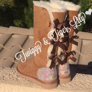 NEW - Chestnut TALL Bailey Bow Uggs With Swarovski Crystal Bling Embellishment - Crystal Bling Ugg
