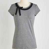 Flawless in Wonderland Top in Charcoal | Mod Retro Vintage Short Sleeve Shirts | ModCloth.com