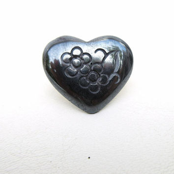 Vintage Neck Scarf Tie Back / Scarf Pin / Sterling Silver Clasp, Black Hematite Heart Pendant