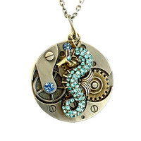 Clockwork Seahorse Gears Necklace mixed metal rhinestone seahorse Handmade Graduation Gift Free US Shipping