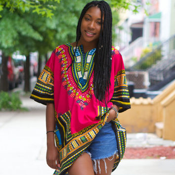 Multicolor Short Sleeve Dashiki Shirt with Pockets