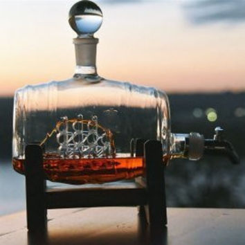 Ship in your Bottle Spigot Decanter