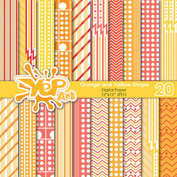 Orange & Yellow Shape Digital Papers Orange Digital Paper Stripes Lines Chevron Zigzag Patterns Scrapbook Paper Scrapbooking Printable Paper