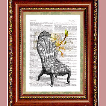 Old Chair Cherry Blossoms Art Print Dictionary Page Book Art Print Upcycled Vintage Page Print Book Print Old Chair Print cp163