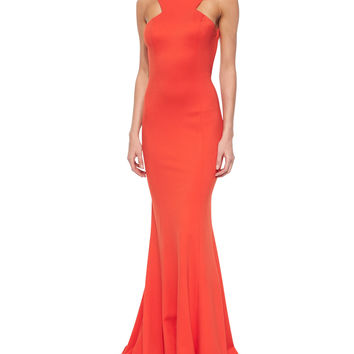 Women's Sleeveless Ruffle-Back Mermaid Dress - Jovani - Orange