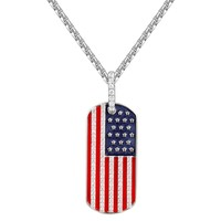 Sterling Silver American Flag Dog Tag Pendant Chain