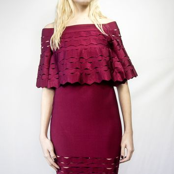 Queen Bee Red Sophia Dress off shoulder midi length cut out detail