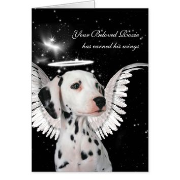 Custom Pet Sympathy Loss of a Dog Dalmatian Angel Card