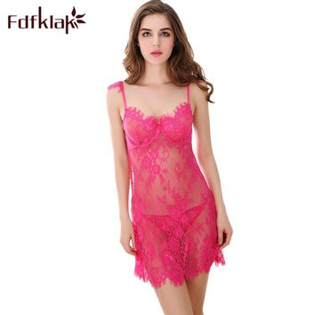 Lace Sexy Lingerie Backless Short Slim Nightgowns Women Sleeveless Night Dress Ladies Sleepwear Hollow Out Nightshirt E0365