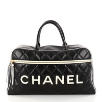 Chanel Embossed Logo Bowler Bag Quilted Lambskin Large