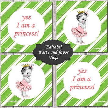 Editable-baby princess Gift Tags Printables - Personalized - green diagonal stripes Gift Tag