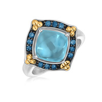 18K Yellow Gold and Sterling Silver Ring with Blue Topaz and Blue Sapphires: Size 7