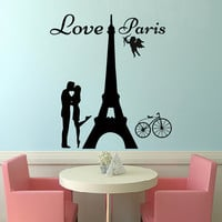 Wall Decals Quote Love Paris Decal Vinyl Sticker Cupid Lovers Bicycle Bedroom Kitchen Home Decor Dorm Living Interior Art Murals MN462