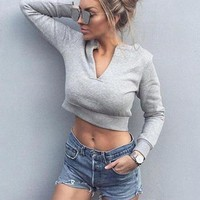 Women Casual Simple Velvet V-Neck Leaky belly button Long Sleeve Pullover Top Sweater