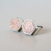 Peach Granite Hexagon Studs