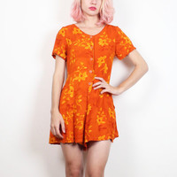 Vintage 1990s Romper Tangerine Orange Ditsy Floral Print Shorts Jumper 90s Soft Grunge Shortalls Playsuit Soft Grunge XS S Small M Medium
