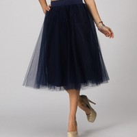 Sale-navy Tulle Midi Skirt
