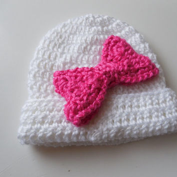 White Beanie with Hot Pink Bow - 3D Bow Hat - 3 to 6 Months - Handmade Crochet - Ready to Ship