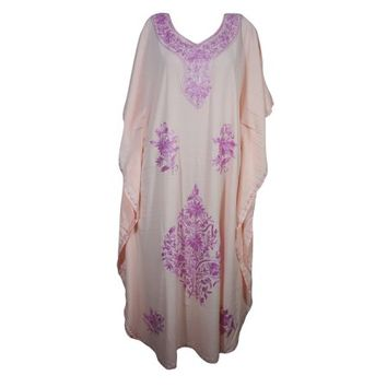 Mogul Bohemian Womens Maxi Caftan Dress Pink Floral Hand Embroidered Kimono Sleeves Resort Wear Summer Style Long Kaftan 3XL - Walmart.com