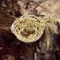 Little Messy Gold Wire Wrapped Bird's Nest Pendant  With Tiger's Eye Eggs