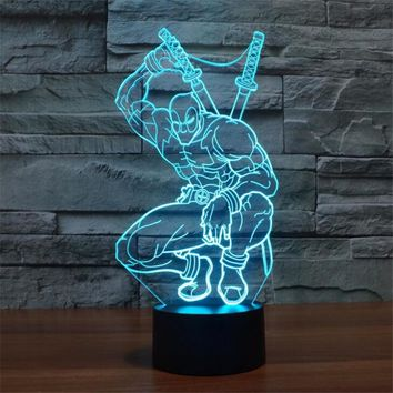 Creative LED 3D Lamp Deadpool