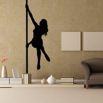 Wall decal decor decals sticker art vnyl design girl dancing pole striptease club bar cafe fitness plasty Bedroom (m1250)