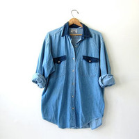 vintage denim shirt. slouchy jean shirt. button down shirt.