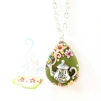 Tea pot necklace OOAK polymer clay pendant whit by FlowerLandShop