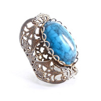 Vintage Filigree Ring -  Adjustable Blue Stone Gold Tone Chunky Costume Jewelry / Marbled Blue
