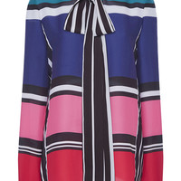 Silk Georgette Long Sleeve Striped Shirt | Moda Operandi