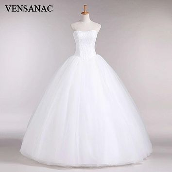 VENSANAC 2017 New A Line Lace Sweetheart Off the shoulder Sleeveless White Satin Bridal Wedding Dress Wedding Gown 30335