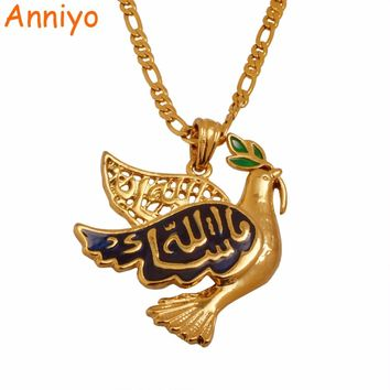 Anniyo Islam Dove Holy Pigeon Peace,Allah Necklaces & Pendants Women,Gold Color Muslim Arab Middle Jewelry #011701