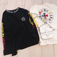 """Chrome Hearts"" Women Personality Multicolor Rhinestone Letter Long Sleeve Sweater Casual Tops"