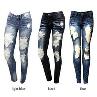 Women's Skinny Jeans Fashion Ripped  Holes Denim Pants Long