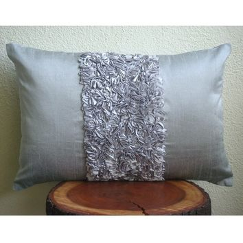 Vintage Silver Love   Oblong  / Lumbar Throw by TheHomeCentric