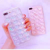Case For iPhone X 8 Plus 6 6S Plus 7 Plus Cover Korean 3D Love Heart Clear Soft TPU Glitter Sequin Case For Samsung S8 Plus Case