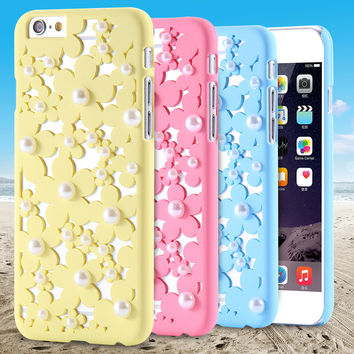 For iPhone5 Hollow Flower Pattern White Pearl Cute Back Case For Apple iPhone 5 5s Romantic Girl Hard Cover Accessories