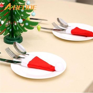 DCCKU7Q ABEDOE 10pcs Christmas Cutlery Cover Knife Fork Spoon Dinner Tableware Cover Christmas Decoration Tableware Hat Table Settings