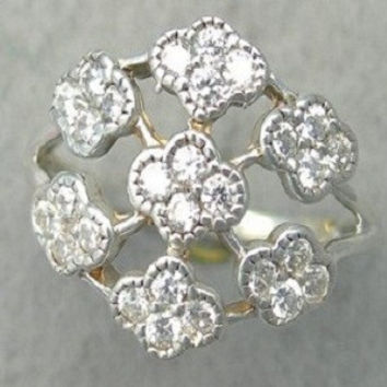 0.75ct. Genuine diamond cluster right hand ring in 10k white or yellow gold size 3-10