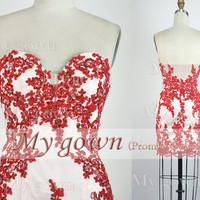 2014 Homecoming Dress,Red Lace Sexy Short Prom Dress,Prom Gown,Formal Dresses, Evening Gown,Bridesmaid Dress,Wedding Dress,Lace Prom Dress