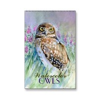 Watercolor owls paintings calendar 2015 close-ups | Zazzle