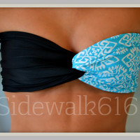 Mint Black Tribal Bandeau Top Spandex Bandeau Bikini Swimsuit