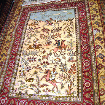 PERSIAN ORIENTAL CARPET rug mongol mongolian hunting riding genghis khan afghan 4x6 handmade 100% wool turkmen new bed living room patu topi
