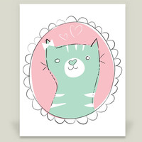 Cute Cat in a Frame Art Print by murilo on BoomBoomPrints