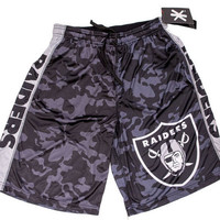 Oakland Raiders Official NFL Big Log Camo Shorts